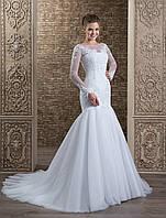 """Изящное свадебное платье силуэта """"рыбка"""" на длинный рукав, украшений нежнейшей аппликацией"""