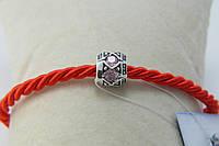 Серебряный шарм типа Pandora с розовыми камнями