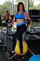 Классические лосины, леггинсы для занятия фитнесом Голубой
