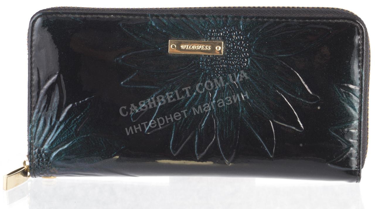Стильный надежный женский кожаный лаковый кошелек барсетка высокого качества WILDNESS art. 2480T-4-B39 зеленый