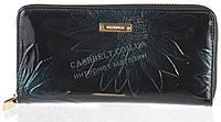 Стильный надежный женский кожаный лаковый кошелек барсетка высокого качества WILDNESS art. 2480T-4-B39 зеленый, фото 1