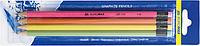 Набір олівців графітових HB, асорті неон, з гумкою, 4шт.блістер BM.8521
