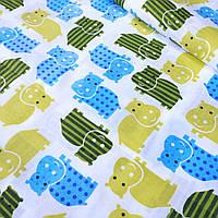 Хлопковая ткань с бегемотами бирюзово- желтого цвета №278