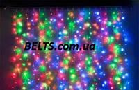Мультицветная гирлянда Бахрома 300 LED (штора 3 метра, висит на 0,65 м)