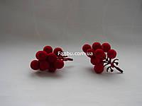 Мини-ветка ягод бархатная крупная калина, h-7,5 см (1 упаковка- 2 шт)