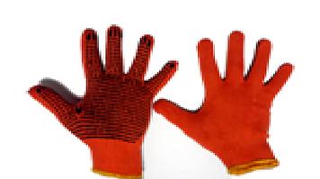 Перчатки с ПВХ точкой оранжевые 2-ой сорт