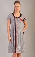 Женский летний халат увеличенного размера рябая полоса
