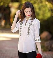 Вышитая рубашка женская масляная с коричневой вышивкой. Рукав 3/4. Разм. XS, S. Davanti .