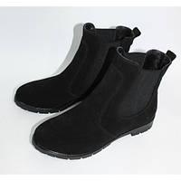 Женские черные ботинки челси натуральный замш зима