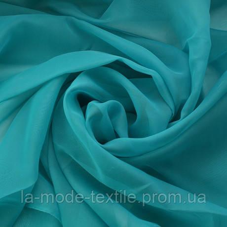 Однотонная тюль вуаль голубая бирюза