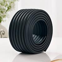 Защитная лента на углы мебели - ребристая. Черный.