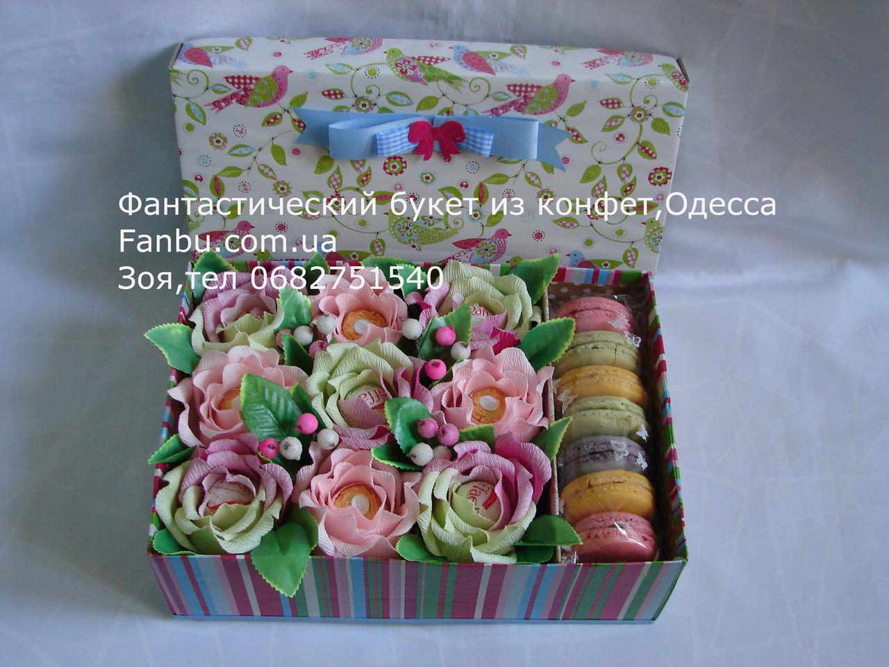 Свит бокс-средний с конфетами и макаронсами, фото 1