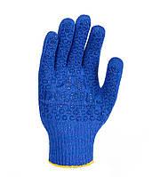 Трикотажные перчатки синие с ПВХ рисунком Doloni 646