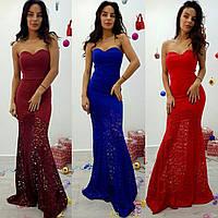 Женское нарядное вечернее платье-двойка с гипюром и болеро (4 цвета)