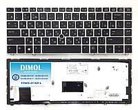 Оригинальная клавиатура для HP EliteBook Folio 9470m series, ru, black, серебристая рамка, TrackPoint, подсвет