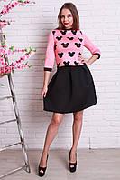 Класный молодежный костюм розовая кофта и черная пышная юбка со складками