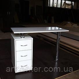 Маникюрный стол, стол для маникюра белый, офисный стол белый глянец однотумбовый