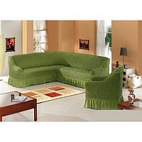 АКЦИЯ!!! Чехол натяжной на угловой диван и кресло зелёный