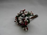 """""""Тычинки с блестками микс"""" бело-вишневые, искусственные на розетке листьев (1 набор - 12 веточек )"""