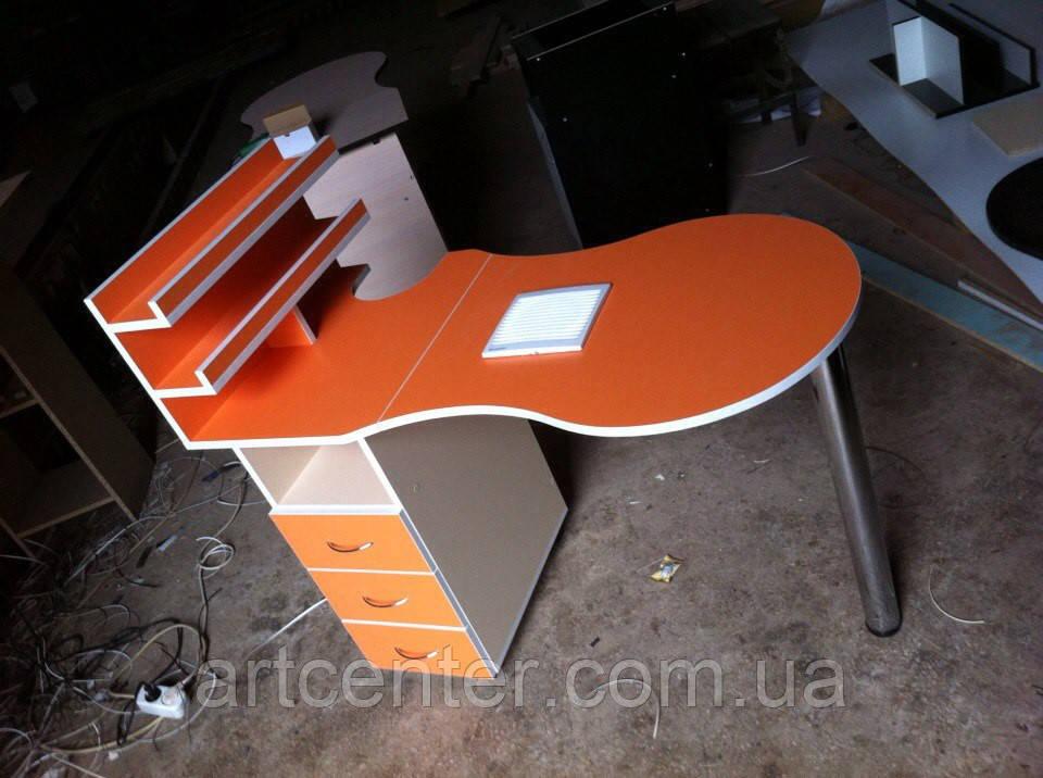 Маникюрный стол  с вытяжкой, оранжевый стол для маникюра с ящиками и полочкой для лаков