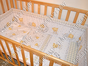 """Детское постельное белье в кроватку """"Карапуз"""" комплект 5 ед. (мишка на месяце белый), фото 2"""