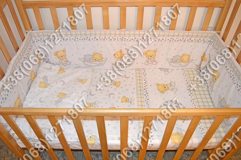 """Детское постельное белье в кроватку """"Карапуз"""" комплект 5 ед. (мишка на месяце белый)"""