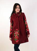 Очень красивое кашемировое пальто свободного фасона с вышивкой большие размеры