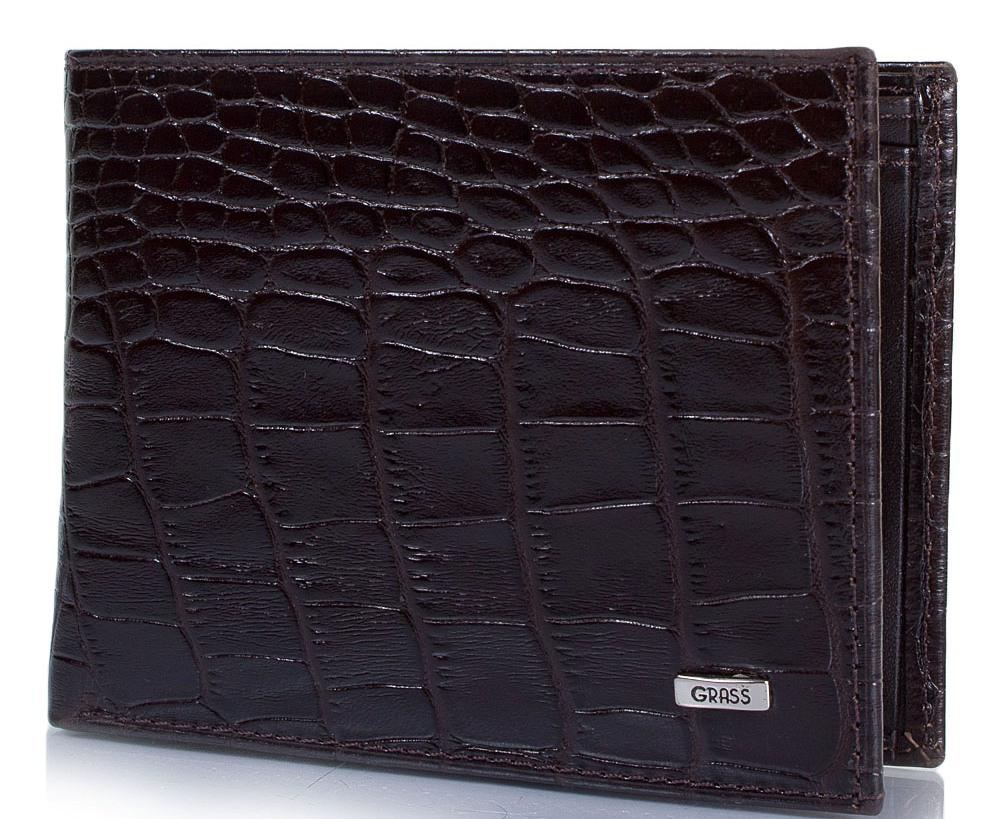 Стильное мужское кожаное портмоне из кожи под крокодила GRASS SHI394-30