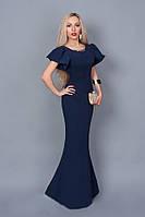 Вечернее платье в пол в стиле русалка темно-синее