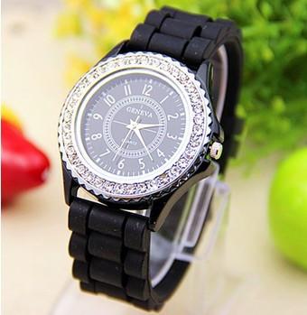 Годинники жіночі Geneva Crystal black (чорний)