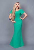 Нарядное платье-макси приталенного силуэта для особого случая цвета бирюза