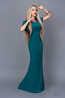 Длинное платье-русалка бутылочного цвета