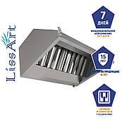 Зонт кухонный вытяжной пристенный из нержавеющей стали с жироулавливающим фильтром