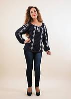Очень красочная вышитая блуза Ксения из штапеля с завязками