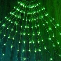 Водопад гирлянда штора\занавес 3х1,2 м на белом проводе 300 LED, зелёный
