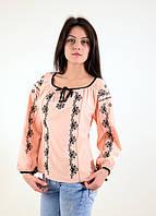 Элегантная вышитая блуза из штапеля вырез горловины украшен завязками