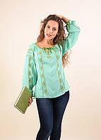 Очаровательная блуза из тонкого штапеля в мятном цвете декорирована вышивкой