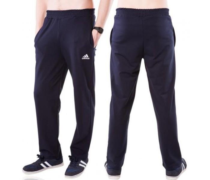 Спортивные брюки больших размеров в стиле Адидас (Adidas) мужские трикотажные темно синие баталы Украина