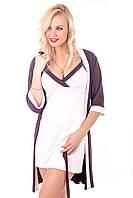 Комплект домашний ночная рубашка+халат, вискоза К110н