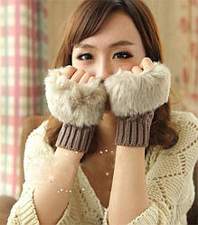 Жіночі в'язані рукавички без пальців з хутром, рукавиці, мітенки