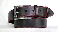 Джинсовый ремень 45 мм черный прошитый двойной красной ниткой пряжка серая матовая