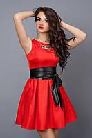 Стильное платье из стрейчевой итальянской ткани огненно-красное