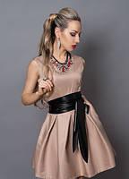 Качественное женское платье цвета капучино