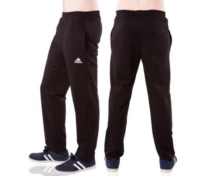Спортивні штани великих розмірів в стилі Адідас (Adidas) чоловічі трикотажні чорні баталов Україна