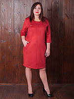 Яркое бордовое платье из замши большого размера на каждый день