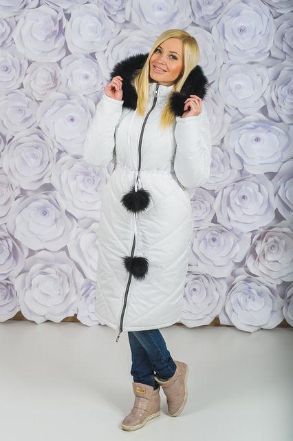 Теплое женское пальто с мехом (4 цвета)