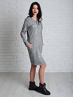 Стильное платье Николь  светло-сером цвете из мокрой замши свободного кроя