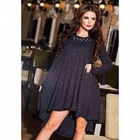 Платье женское теплое разлетайка 229 ангора серое,модные платья