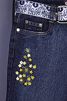 Джинсы подросток в цветочках