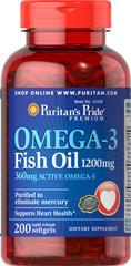Puritans Pride Omega-3 Fish Oil 1200 mg, 200softgels